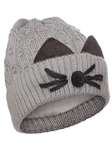 Emmalise Women's Double Pom Pom Beanie Warm Winter Knit Hat - Cat Whiskers - Grey, Inside -