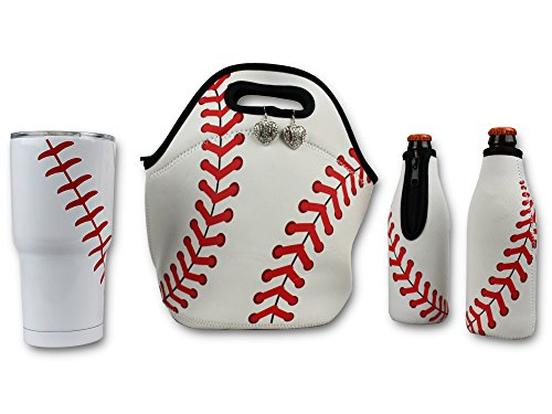 Iron Band The Ultimate Baseball Gift Bundle, 30 OZ Tumbler Cup, Neoprene Lunch Bag, 2 Beer Bottle Cooler Sleeves, for Sports Fan Men Women