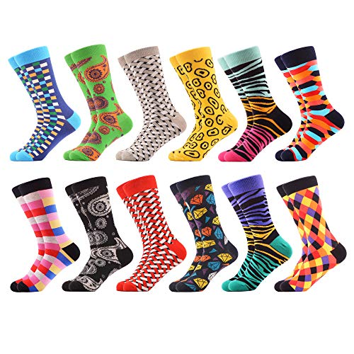 - WeciBor Men's Dress Cool Colorful Fancy Novelty Funny Casual Combed Cotton Crew Socks Pack (063-19)