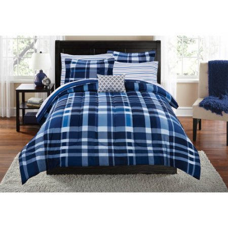 Mainstays Teen Cozy Soft Plaid Stripes Navy Bedding Queen Comforter for Boys (8 Piece in a Bag) - Black Lacquer Full Futon Frame