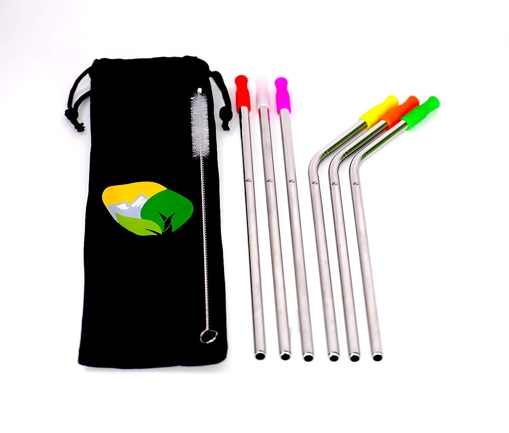 Mountain View Straw Company Food Grade Stainless Steel Drinking Straws BPA Free 6 Reusable Straws 3 Bent 3 Straight With Silicone Tips And Cleaning Brush With Travel Bag For 20 Oz Tumbler