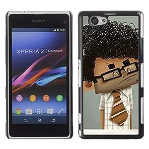 GOODTHINGS Funda Imagen Diseño Carcasa Tapa Trasera Negro Cover Skin Case para Sony Xperia Z1 Compact D5503 - friki chico hombre científico arte pelo rizado negro
