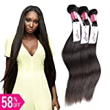 virgin brazilian hair 3 bundles - LanQi Brazilian Virgin Hair Straight 3 Bundles Human Hair Unprocessed 7A Brazilian Straight Hair Brazilian Virgin Hair Straight(18 18 18, Natural Color)…