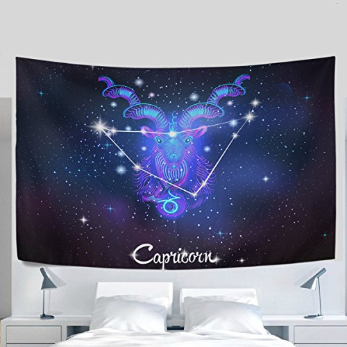 Home Decor Constellation Zodiac Sign Capricorn Tapestries Hanging Bedroom Living Room Decorations Polyester Tapestry Wall Art 60X40 Inches