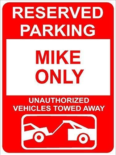 AdriK Wall Decoration Sign Mike Reserved Parking Only Family Name Funny Home Tin Sign Plaque for Women