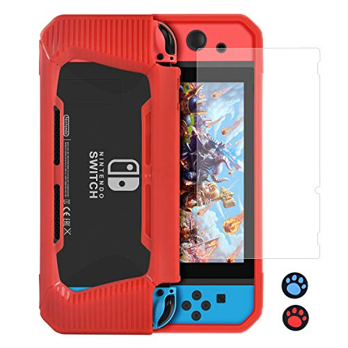 YPLANG Protective Case Compatible with Nintendo Switch, Protective Scratch Protection Shock Absorption Travel Protective Case Accessory for Switch + 1 Pack of Screen Protector + 2 Rocker Cap (Red) ()