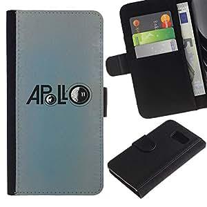Billetera de Cuero Caso Titular de la tarjeta Carcasa Funda para Samsung Galaxy S6 SM-G920 / Apollo Moon Mission Astronaut Blue / STRONG