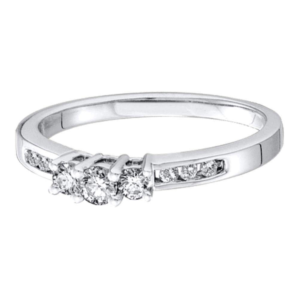Sonia Jewels Size 6-14K White Gold Diamond Classic Traditional Engagement Ring - 3 Three Stone Center Setting Shape w/Channel Set Round Diamonds - (1/4 cttw) by Sonia Jewels