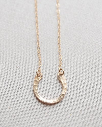 Textured Horseshoe Necklace - Silver, Gold or Rose - Gold Necklace Horseshoe