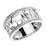 Solid 10k White Gold CZ Studded Ring with Elephant, Owl, Horseshoe, Seven, Evil Eye and Clover Flower