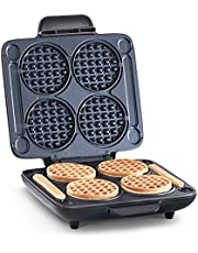 Dash Multi Mini Waffle Maker: Four Waffle, Multi Mini Waffle Maker Machine, Perfect for Families and Individuals, 4 Inch Dual Non-stick Sides with Quick Release & Easy Clean + Waffle Sticks - Graphite