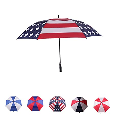 8718d51b4ef0 LLanxiry 62 Inch Automatic Open Golf Umbrella Extra Large Oversize Double  Canopy Vented Big Handle Straight Anti-UV Windproof Waterproof Stick Long  ...