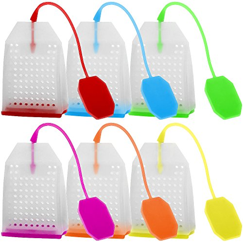 6 Pack Silicone Tea Infuser, FineGood Reusable Safe Loose Leaf Tea Bags Strainer Filter with Six Colors ()