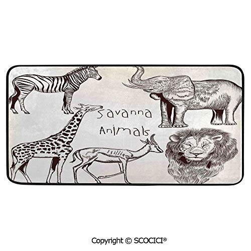 - Soft Long Rug Rectangular Area mat for Bedroom Baby Room Decor Round Playhouse Carpet,Safari,Collection of Tropic African Asian Wild Savannah Animals Lion,39