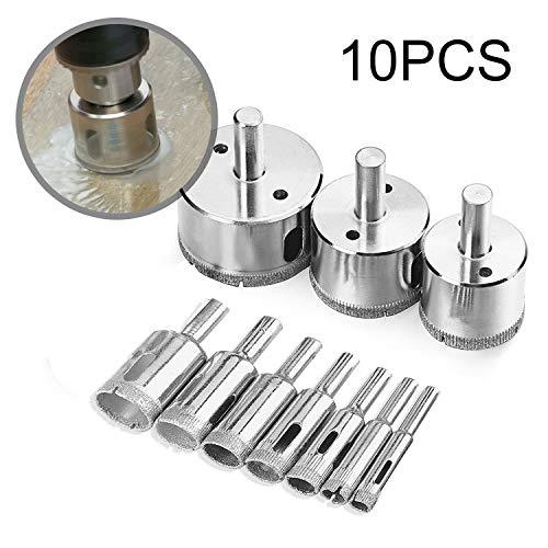 Diamond Drill Bits, KKtick Hollow Core Drill Bit Set for Ceramic, Glass, Porcelain Tile Diamond Hole Saw Tile Set Glass Drill Bit 10 ()