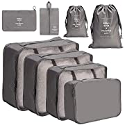 Meowoo 8 Pieces Packing Cubes Reusable Waterproof Large Capacity Lightweight Travel Storage Suitcase Luggage Organizer…