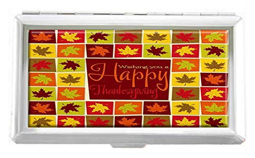 - Maple Leaf Mosaic Thanksgiving Card in Format Design Unisex Stainless Steel Cigarette Holder Case Protection Credit Business Card Storage Box Pocket/Wallet