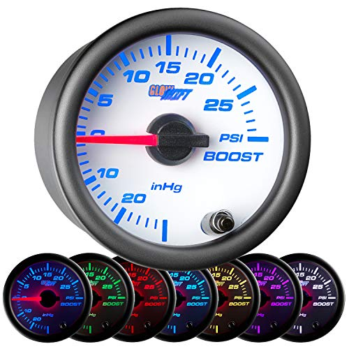 (GlowShift White 7 Color 30 PSI Turbo Boost/Vacuum Gauge Kit - Includes Mechanical Hose & T-Fitting - White Dial - Clear Lens - For Car & Truck - 2-1/16
