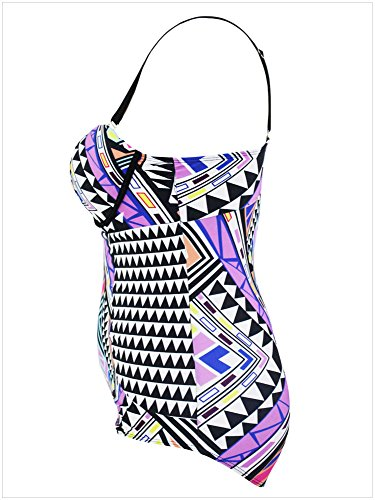 DIERDI mujeres más tamaño bikini alta cintura Strappy Color Beachwear traje de baño transpirable 1Pcs Morado