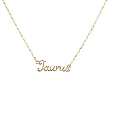 a8036c10beec4 Lux Accessories Girls Silvertone and Goldtone Script Name Horoscope Zodiac  Sign Necklace