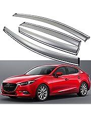 SPEEDLONG 4Pcs Car Window Visor Vent Shade Deflector Sun/Rain Guard for Mazda 3 Hatchback 2014-2019