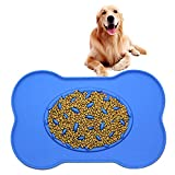 Slow Feeder bowl Feeding Mat,Pet Dog Fun Feeder Puzzle Slow Food Bowls Anti Choke Food-grade Soft Silicone Anti-overflow Non-skid Interactive Feeder for Small Medium Large Dogs and Cats (Blue)