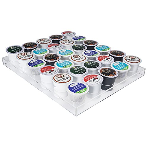 Coffee K Cup Holder - K Cup Organizer, Acrylic (Tray is Compatible to the Acrylic Stackable Drawer)