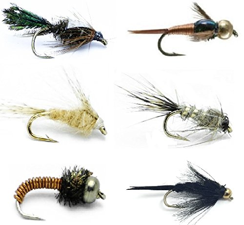 Feeder Creek Fly Fishing Flies Assortment - 18 Classic Nymphs for Trout and Freshwater Fish - 6 Famous Nymph Patterns (Stonefly, Light Cahill, Hare's Ear, Bead Heads, Zug Bug, Brassie) Sizes 12-16