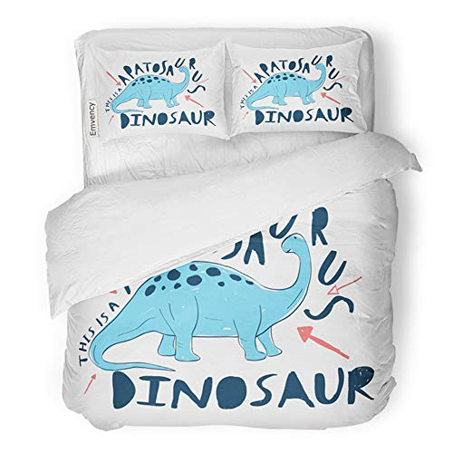 Emvency Bedding Duvet Cover Set King Size (1 Duvet Cover + 2 Pillowcase) Adventure Dinosaur Animal Apatosaurus Baby Beauty Hotel Quality Wrinkle and Stain Resistant ()