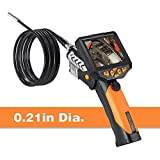 Digital Endoscope, Teslong 0.21inch Semi Rigid Gooseneck Industrial Endoscope Waterproof Borescope Inspection Camera with CMOS Sensor, 3.5inch LCD, 4x Zoom and DVR Digital Video Recording(3m/9.8ft)