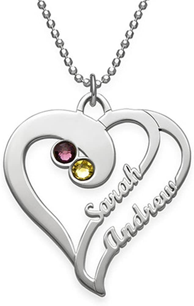 a266XDKSJK Heart in Heart Birthstone Family Name Necklace Personalized Mother Necklace Silver Birthstone Necklace Gift for Mother