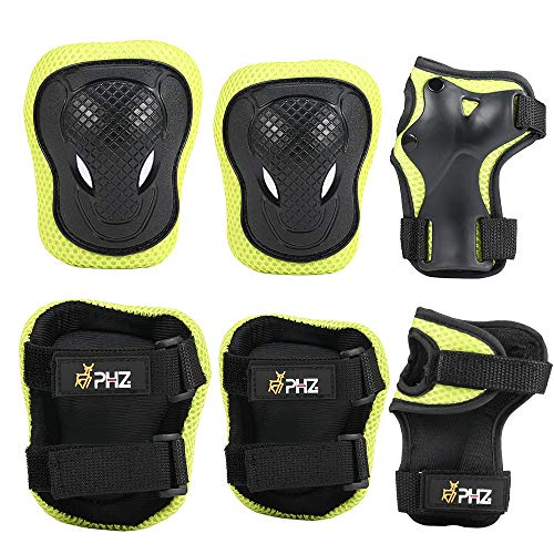 PHZ. Kids Adjustable Helmet Protective Gear Set Knee Elbow Pads Wrist Guards Pads for 3-8 Years Toddler Boys Girls, Roller Skating Skateboard Scooter Cycling Bike