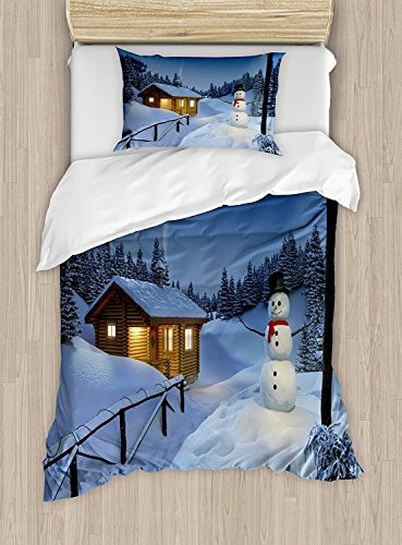 - Girls Boys Child Queen Bedding Sets,Christmas Duvet Cover Set,Wooden Rustic Log Cottage Scenery in the Winter Season Warm Moonlight Spirit,Cosy House Collection 4 Piece Bedding Sets