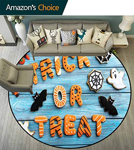 Vintage Halloween Round Carpet for Living Room,Trick or Treat Cookie Wooden Table Ghost Bat Web Halloween Chic Pattern,Blue Amber Multicolor,D-43 -