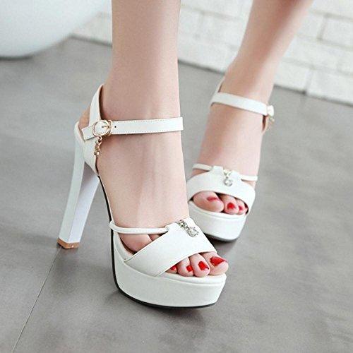 TAOFFEN White Absatz Sandalen mit 1 Damenmode Plateausohle und rrwnYBx4