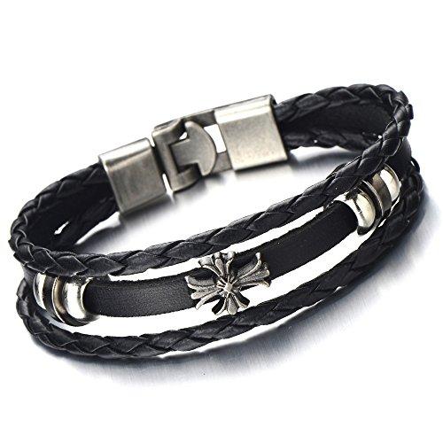 Braided Leather Bracelet Multi strand Wristband