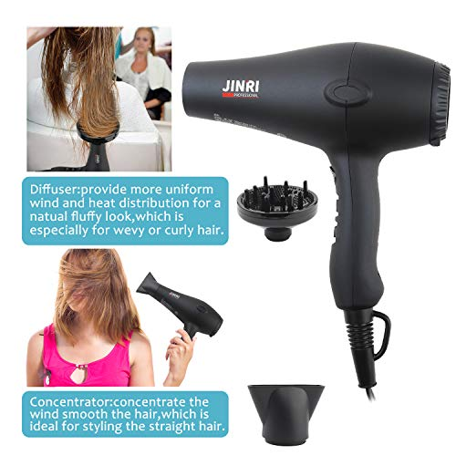 1875w Professional Tourmaline Hair Dryer,Negative Ionic Salon Hair Blow Dryer,DC Motor Light Weight Low Noise Hair Dryers with Diffuser & Concentrator,Black ETL Certified