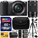 Sony Alpha A5000 20.1 MP Interchangeable Lens Camera with 16-50mm OSS Lens (Black) ILCE5000L & Sony E 55-210mm F4.5-6.3 OSS Lens for Sony E-Mount Cameras with Beginner Accessories Bundle Kit includes 16GB Class 10 SDHC Memory Card + x2 Replacement (1200mA