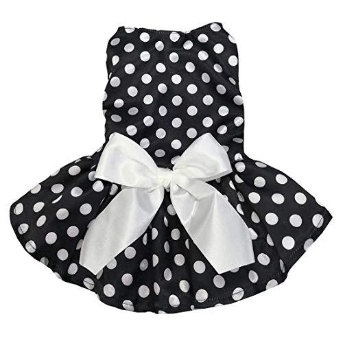 M2cbridge Puppy Cute Dog Tutu Dress Princess Ribbon Polka Dot Skirt for Small Dogs Cats (XS)