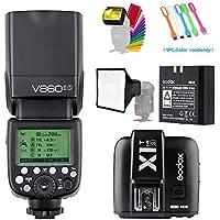 Godox V860II-S HSS GN60 2.4G TTL Li-on Battery Camera Flash Speedlite with Godox X1T-S Wireless Trigger Transmitter for Sony Camera &15x17cm softbox & Filter &USB LED