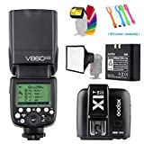 Godox V860II-S HSS GN60 2.4G TTL Li-on Battery Camera Flash Speedlite with Godox X1T-S Wireless Trigger Transmitter for Sony Camera &15x17cm softbox & Filter &USB LED