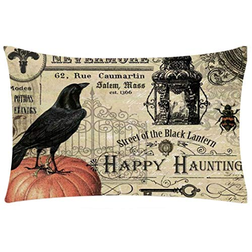 "Price comparison product image Halloween Pillow Pillowcase, Clearance!!! Hongxin Happy Halloween Pillow Cases Linen Pillow Cover Pillowcase Home Halloween Pumpkin Square Pillow Cover Home Decor (H,  19.7""x11.8"")"