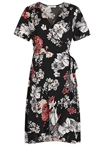 Pintage Women's Floral Wrap Dress Bohemian Flounce Dress S Black White Daisy