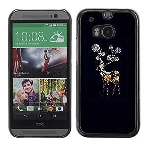 FECELL CITY // Duro Aluminio Pegatina PC Caso decorativo Funda Carcasa de Protección para HTC One M8 // Black Night Flower Gerbera