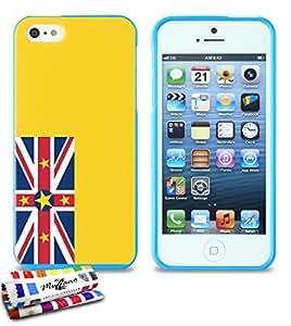 Carcasa Flexible Ultra-Slim APPLE IPHONE 5 de exclusivo motivo [Bandera Niue] [Azul] de MUZZANO  + ESTILETE y PAÑO MUZZANO REGALADOS - La Protección Antigolpes ULTIMA, ELEGANTE Y DURADERA para su APPLE IPHONE 5