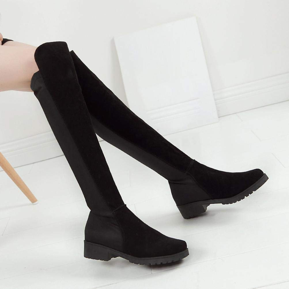Gyoume Women Over Knee Stretch Thigh High Slouchy Flat Heel Boots Shoes