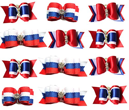 yagopet 20pcs/10pairs US Independence Day Dog Hair Bows Rubber Bands The Fourth of July US Flag Pet Grooming Products Accessories