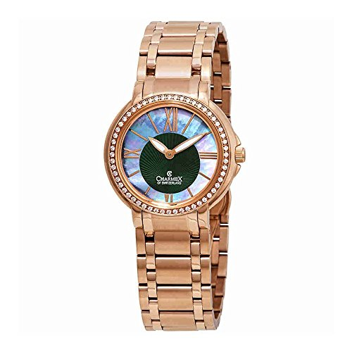 Charmex Malibu Crystal Green Mother of Pearl Dial Ladies Watch 6424