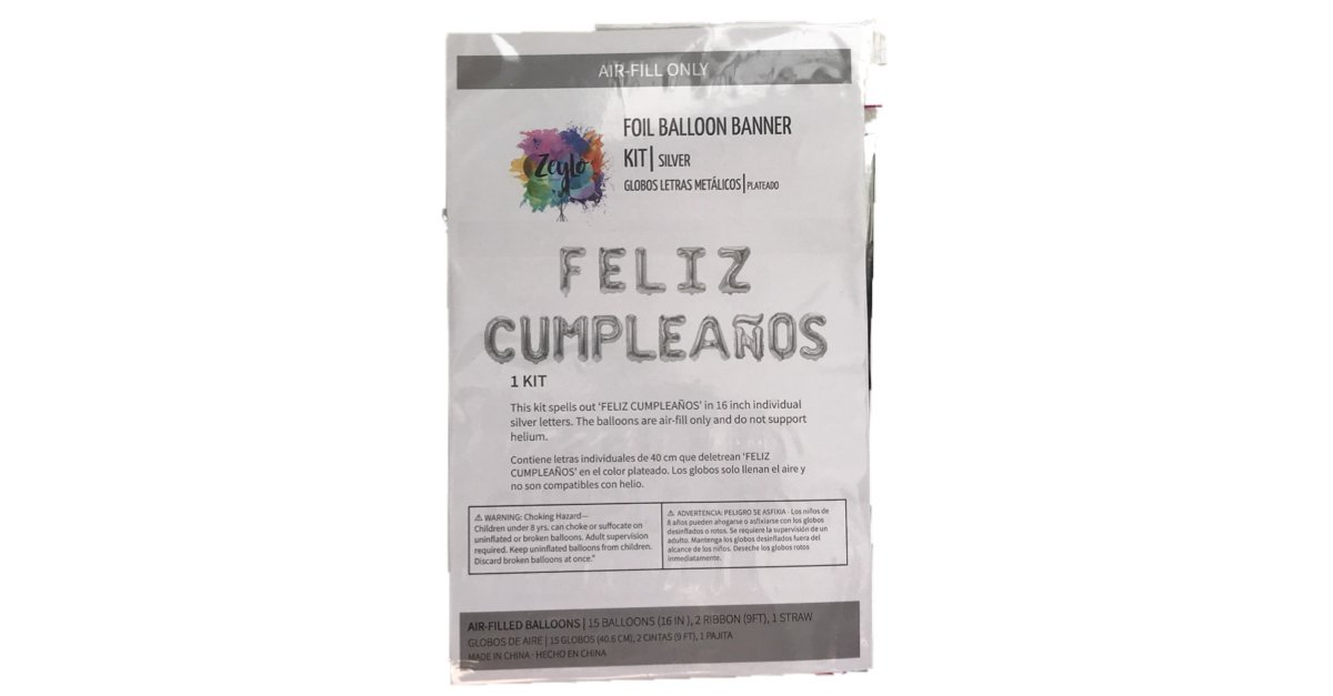 Feliz Cumpleaños 16 Inch Letter Foil Mylar Balloon Banner Kit by Zeylo Party Supply, Red