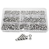 XLX 750Pcs M3 Stainless Steel Hex Socket Head Cap Screws Precise Metric Bolts and Nuts Set Assortment Kit with A Clean Plastic Box (Steel M3)